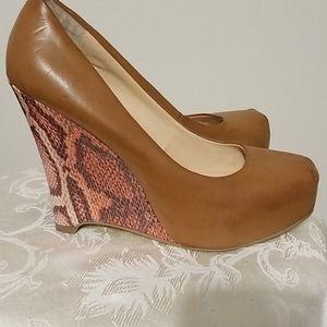 Guess  Snakeskin Print Wedge Heel Shoe